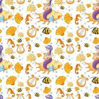 sereia e mar animal dos desenhos animados estilo sem costura padrão vetor