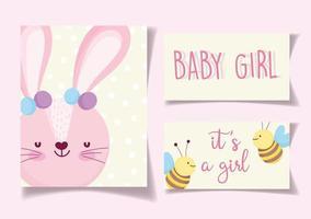 o bebê cor-de-rosa da menina de coelho revela cartões de visitas vetor