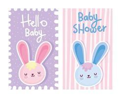 modelos de cartão de bilhete de coelhos de bebê vetor