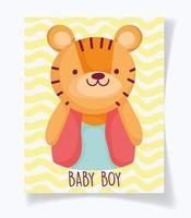 modelo de cartão de chuveiro de bebê com tigre fofo vetor