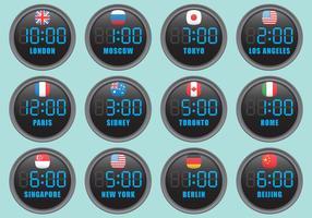 Relógios internacionais digitais vetor