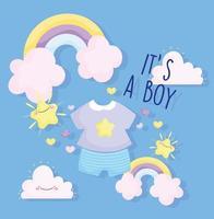 modelo do chuveiro de bebê para meninos vetor