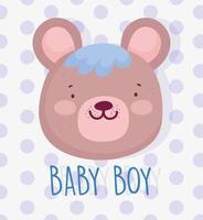cabeça de menino bebê fofo urso vetor