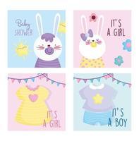 modelos de cartão de convite de coelhos de bebê vetor