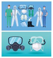 médicos com equipamentos de biossegurança para proteção covid-19