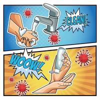 métodos de prevenção covid-19 estilo pop art vetor