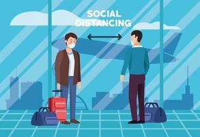 distanciamento social no design de cartaz do aeroporto vetor