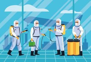 trabalhadores de biossegurança que desinfetam o design do aeroporto