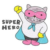 gato super-herói mão desenhada vetor