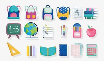 conjunto de materiais escolares bonitos vetor