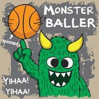monstro girando basquete na mão vetor