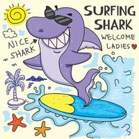 tubarão de surf desenhado de mão vetor