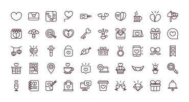 conjunto de linha de trabalho dia dos namorados ícones vetor