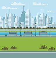 cena urbana de parque e paisagem urbana com bancos para sentar