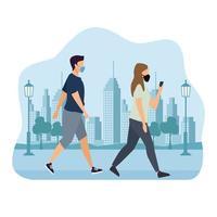 casal usando máscaras médicas andando com telefone vetor