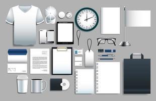 conjunto de elementos brancos com modelos de papelaria