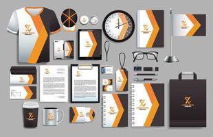 conjunto de elementos cinza escuro, laranja com modelos de papelaria