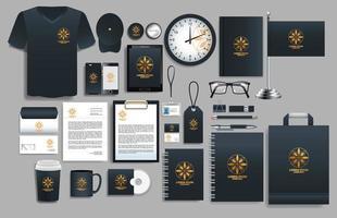 conjunto de elementos de logotipo preto, ouro com modelos de papelaria