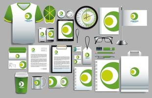 conjunto de modelos de papelaria de logotipo de círculo verde, branco