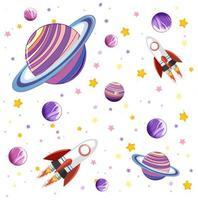 conjunto de espaço e planetas da galáxia colorida