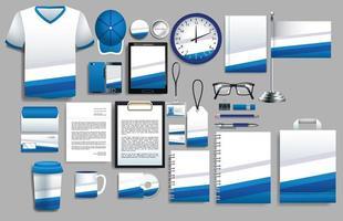 conjunto de elementos azuis e brancos com modelos de papelaria