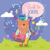 urso doce de volta ao modelo de cartão de escola
