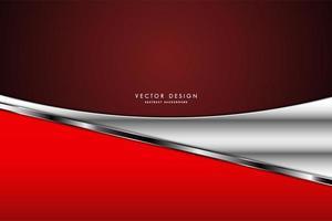 painéis curvos vermelhos e prateados metálicos sobre gradiente vermelho escuro vetor
