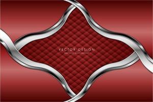 painéis ondulados vermelhos e prateados metálicos com textura de estofados vetor