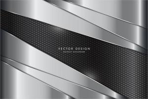 painéis de prata arredondados metálicos com textura de fibra de carbono vetor