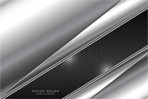 placas de prata metálicas em ângulo sobre textura de grelha cinza vetor