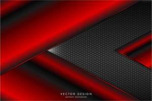 seta vermelha metálica em forma de placas com textura de grelha cinza vetor