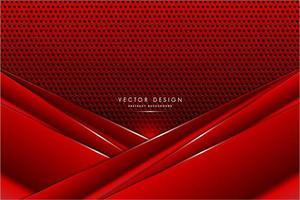 painéis de ângulo vermelho metálico sobre textura de fibra de carbono vetor