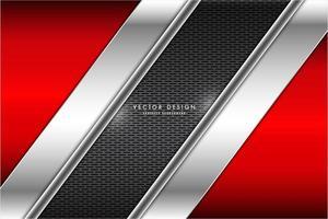 painéis vermelhos e prateados em ângulo metálicos sobre textura de grelha vetor