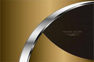 placas de ouro e prata curvas metálicas sobre textura de grelha vetor