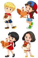 conjunto de crianças felizes e galinhas vetor
