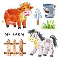 vaca, cavalo, grama, cerca de madeira, balde, pá conjunto aquarela