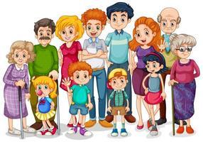 membros da família com filhos e todos os parentes vetor
