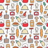 mão desenhada cozinha colorida comida e itens sem costura padrão vetor