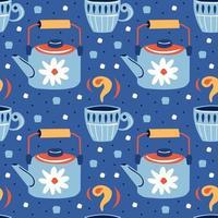 bonito pequeno azul copos e chaleiras sem costura padrão vetor
