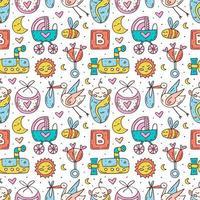 roupas de bebê, brinquedos colorido mão desenhada sem costura padrão vetor