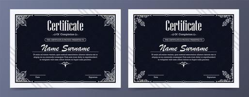 conjunto de certificados profissionais