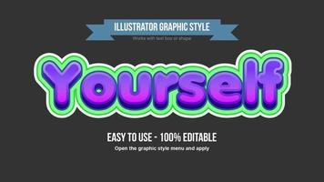 efeito de texto moderno roxo dos desenhos animados 3d com contorno verde vetor