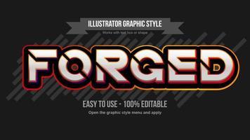 Tipografia futurista laranja metálica fatiada em negrito vetor