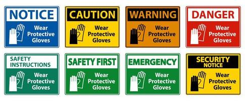 usar luvas de proteção conjunto de sinal colorido vetor