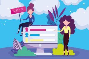mulheres votando online vetor