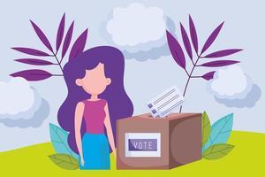 pólo de votação com mulher e natureza vetor