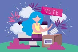 modelo de cartão de votação de mulher bonita vetor