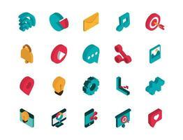 conjunto de ícones de redes sociais e marketing vetor
