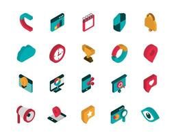 ícones de marketing variados vetor