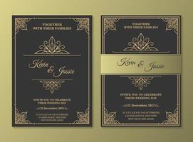 cartão de convite vintage de luxo vetor